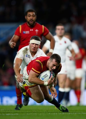 Gareth Davies of Wales goes over to score a try.