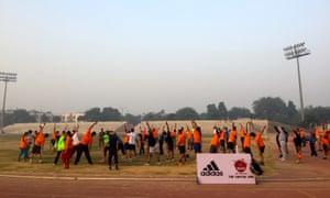 A dawn 5km run at the Jawaharlal Nehru stadium.