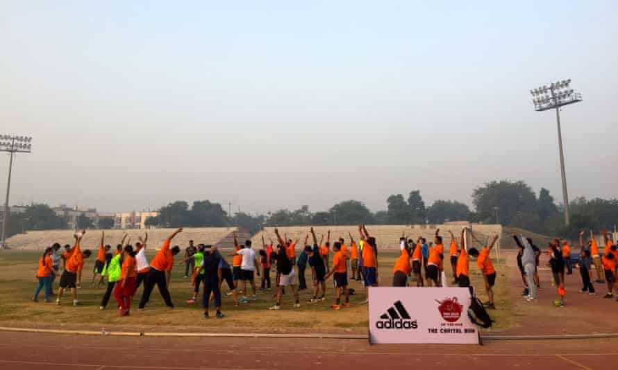 A dawn 5km run at the Jawaharlal Nehru stadium.