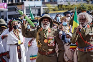 Addis Ababa, Ethiopia. War veterans celebrate the 80th patriots' day, commemorating the end of the Italian occupation, at Meyazia 27 square