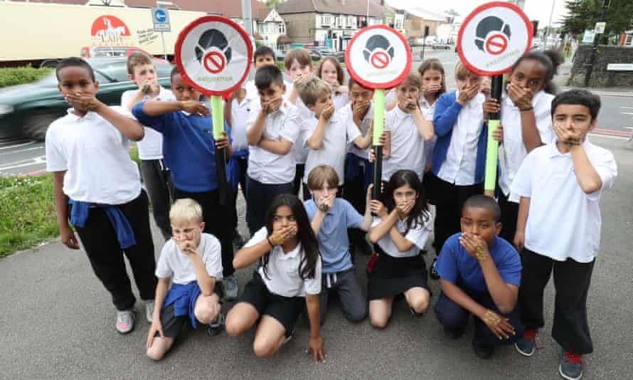 Pupils from Bowes Primary school in Enfield, north London, protesting about levels of air pollution outside their school, which is adjacent to the North Circular ring road. Tens of thousands of children in a quarter of all London's schools are exposed to illegal levels of air pollution that can cause permanent damage to their health, a study has found.