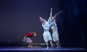 Bethany Kingsley-Garner as Gerda bows to Constance Devernay's Snow Queen.