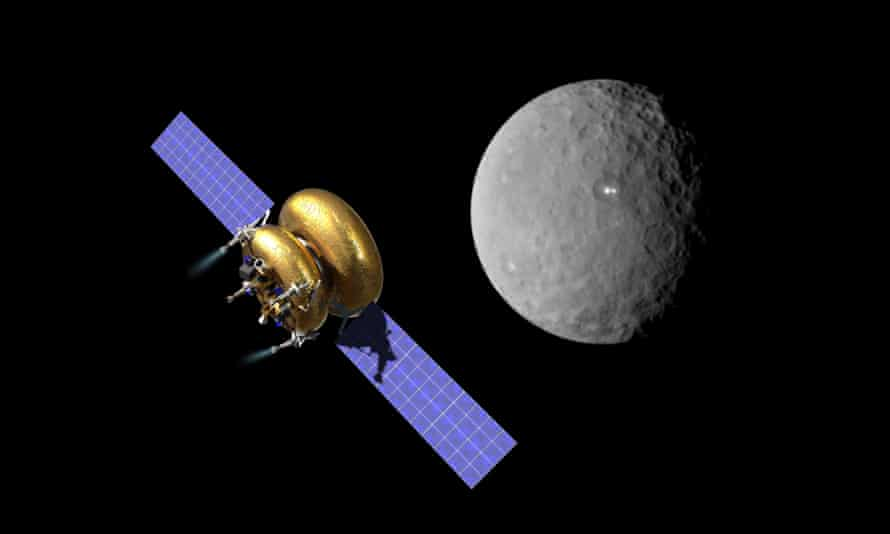 An artist's impression of Planetary Resources' Arkyd 200 spacecraft on a mission to mine an asteroid.