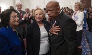 John Lewis with labor leader and civil rights activist Dolores Huerta and Ethel Kennedy, the widow of Robert Kennedy, at Capitol Hill on 5 June.