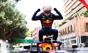 Max Verstappen celebrates his first-ever Monaco Grand Prix success.