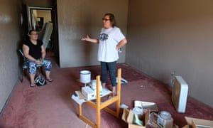 Lisa Heth stands in the last room to be finished in the Pathfinder Shelter with her daughter Kendall Cadwell, who works at the shelter as an advocate.