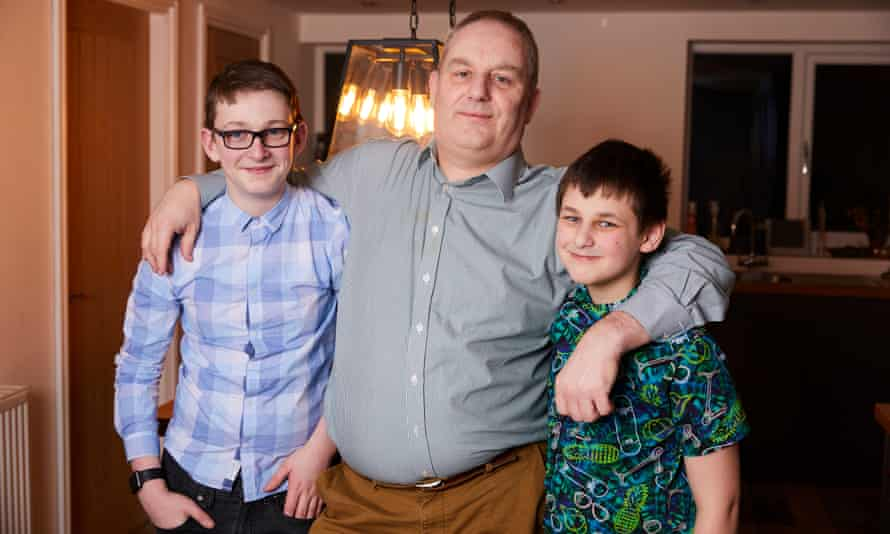Joe Norton with his sons, 13-year-old Owen (left) and 12-year-old Tarren
