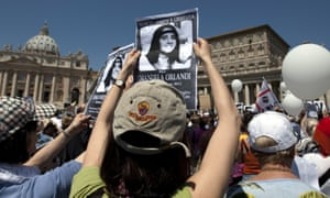 Demonstrators hold pictures of Emanuela Orlandi in St Peter's Square in May 2012.