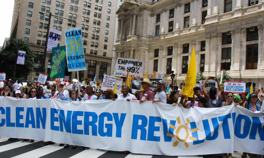 Protesters make their point about energy and climate change at the Democratic national convention in Philadelphia.