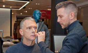 War Paint founder Danny Gray does Sam Wollaston's makeup at the The Pitch in John Lewis, Oxford Street.