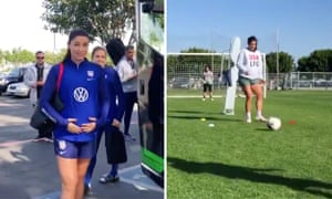 US Women's soccer player Alex Morgan who is training while seven months pregnant.