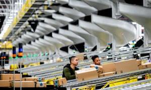 An Amazon fulfillment center on Staten Island.