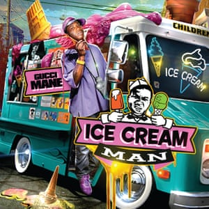 """Gucci Mane - Ice Cream Man - Design by Kid Eight. An artefact from the days when mixtape were sold on blankets in the street is to theme the cover based on current events. New Orleans was flooded by water in 2005, the street were flooded by hurricane Katrina mixtape covers. When Obama was elected politics and mixtapes crossed paths, a rare occurrence. This one shows Gucci Mane on the south lawn, and other highlights on the same theme was DJ Drama's temporary alias """"Barrack ODrama"""""""