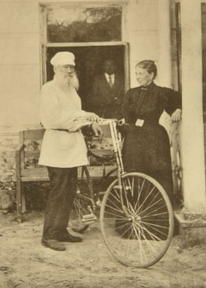Leo Tolstoy with a bicycle, Russia, 1890s.