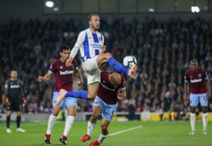 Brighton goalscorer Glenn Murray battles in the air with West Ham's Pablo Zabaleta at the AMEX Stadium. Murray has scored 12 Premier League goals for Brighton in 2018 - the only Englishmen with more are Kane (17) and Vardy (14).
