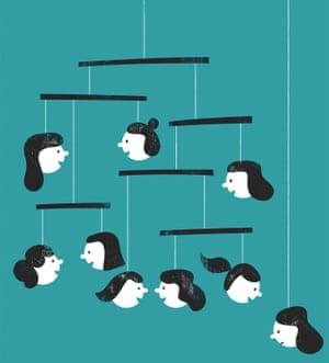 Illustration of children's heads on a mobile