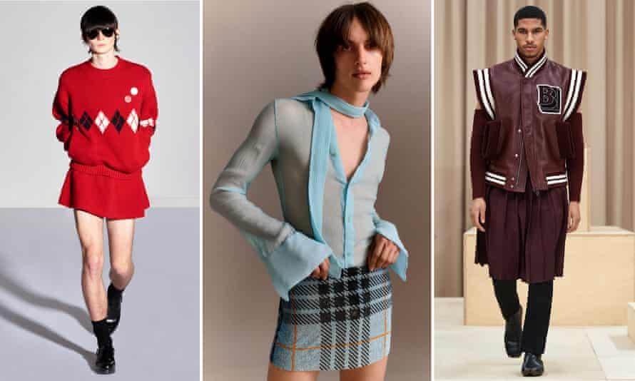 Skirts for men: left to right, Stefan Cooke, Ludovic de Saint Sernin, Burberry.