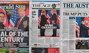 Australian morning newspapers with front-page coverage of the Trump-Kim summit