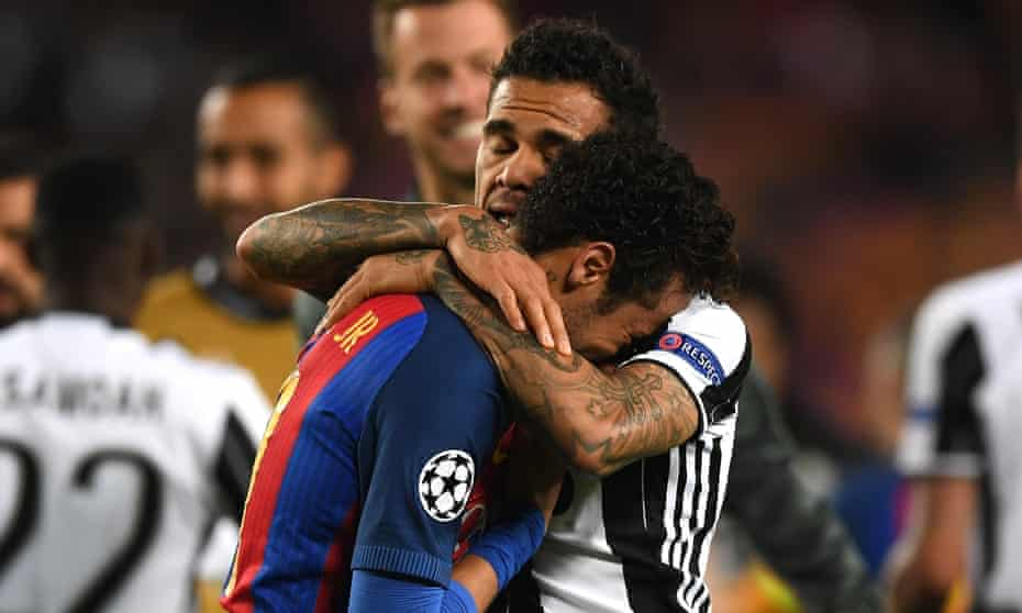 Dani Alves comforts Neymar after the Juventus wing-back helped send his former club out of the Champions League.