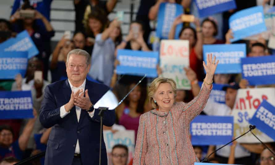Hillary Clinton and Al Gore in Miami Tuesday.