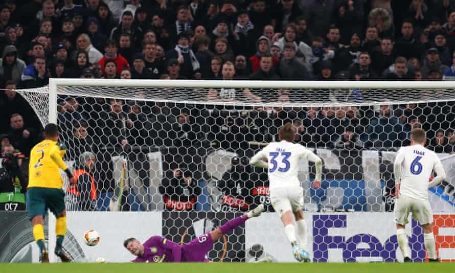 Celtic's Fraser Forster saves Jens Stage's penalty during the Europa League last 32 first leg match against Copenhagen.
