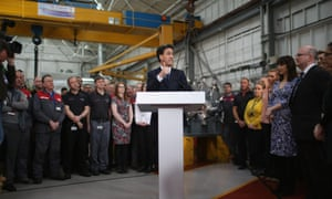 Ed Miliband meets workers at David Brown Gear Systems as he holds a Q&A session on April 1, 2015 in Huddersfield, England.