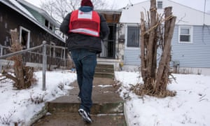 American Red Cross worker goes door to door in the US