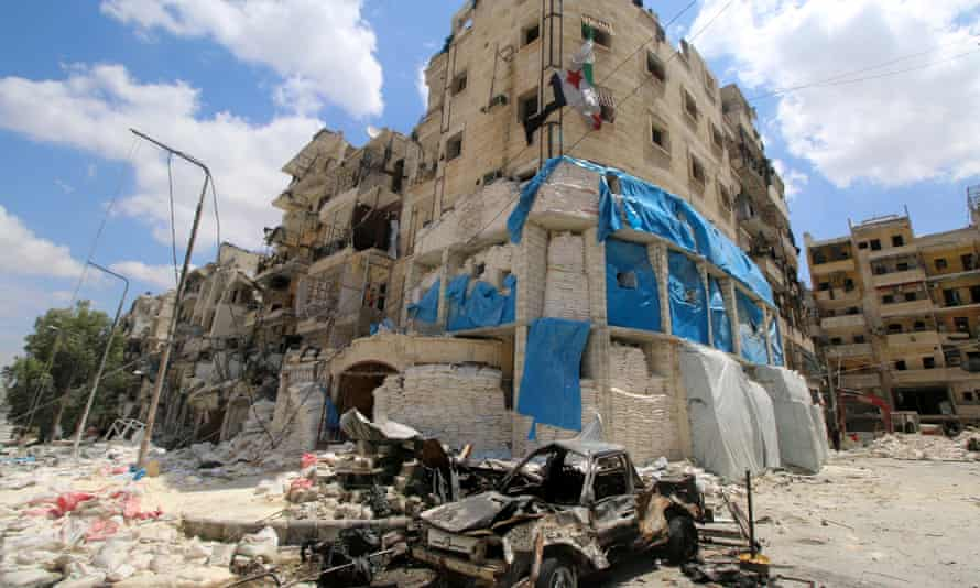 The Médecins Sans Frontières-backed al-Quds hospital after it was hit by airstrikes in a rebel-held area of Aleppo in April 28.
