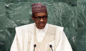 Nigerian president Muhammadu Buhari at the UN general assembly in New York on Monday. The president wants to overhaul the oil sector in Africa's biggest economy.