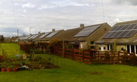Solar panels on the roofs of trial homes in Oxspring, near Barnsley in South Yorkshire.