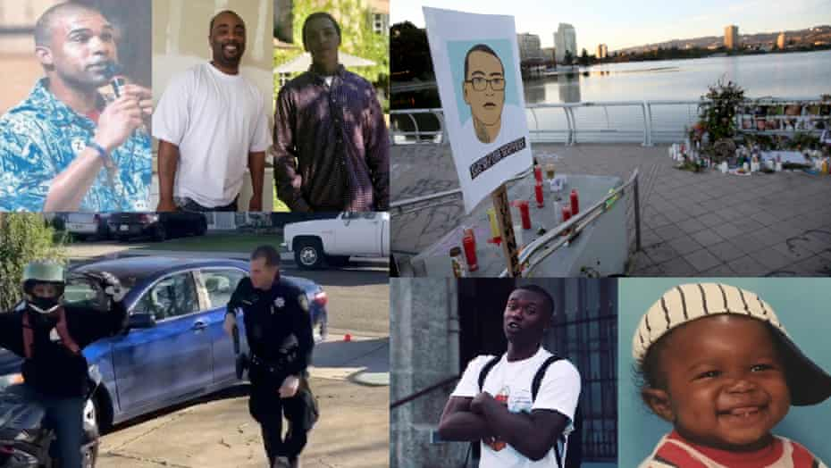 Clockwise from top left: Guy Jarreau; Ronell Foster; Sean Monterrosa; a memorial for Monterrosa; Willie McCoy as a child and an adult; and Michael Walton next to Officer David McLaughlin in footage by Adrian Burrell.