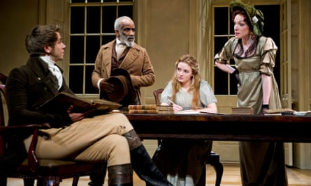 From left: Wilf Scolding (Septimus Hodge), Larrington Walker (Richard Noakes), Dakota Blue Richards (Thomasina Coverly) and Kirsty Besterman (Lady Croom) in Arcadia by Tom Stoppard at the Theatre Royal, Brighton, 2015.