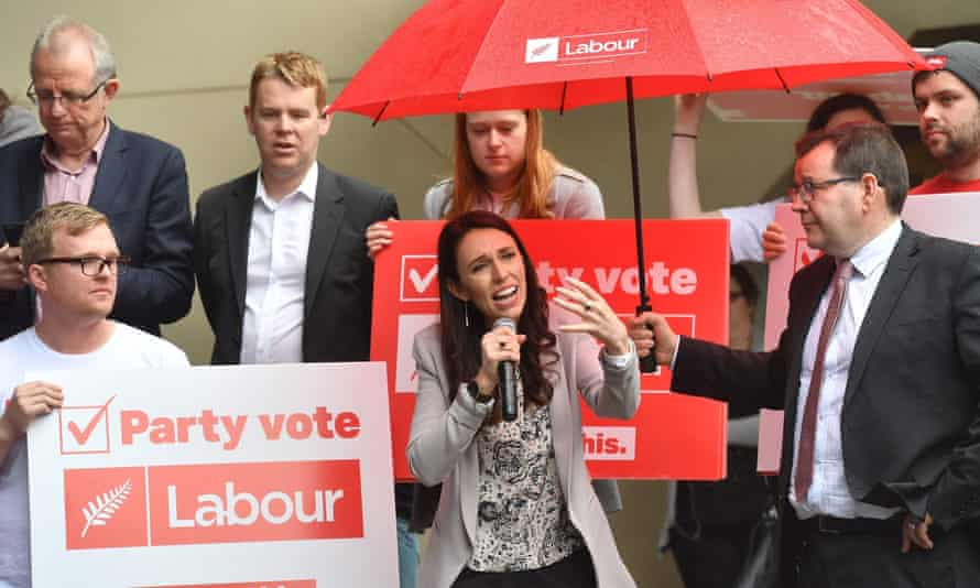 Leader of the Labour Party Jacinda Ardern speaks to university students during a visit to Victoria University in Wellington.