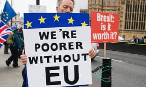 A pro-EU protester outside the Houses of Parliament in London