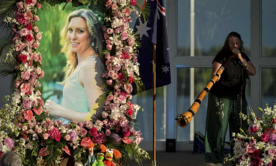 A memorial service for Justine Damond a month after she was killed in July 2017.