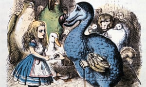 The Dodo solemnly presents Alice with a thimble in this illustration by John Tenniel for Alice's Adventures in Wonderland by Lewis Carroll