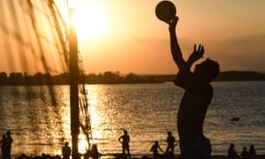 Beach volleyball on the Volga river front in Samara, where temperatures are soaring.