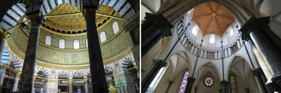 Looks familiar? … from left, the interior of Jerusalem's Dome of the Rock, and Temple Church in London.