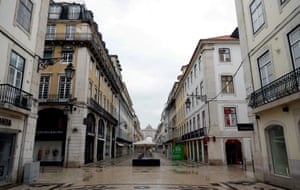 Augusta street is pictured during partial lockdown as part of state of emergency to combat the coronavirus outbreak in Lisbon, Portugal on 30 March, 2020.