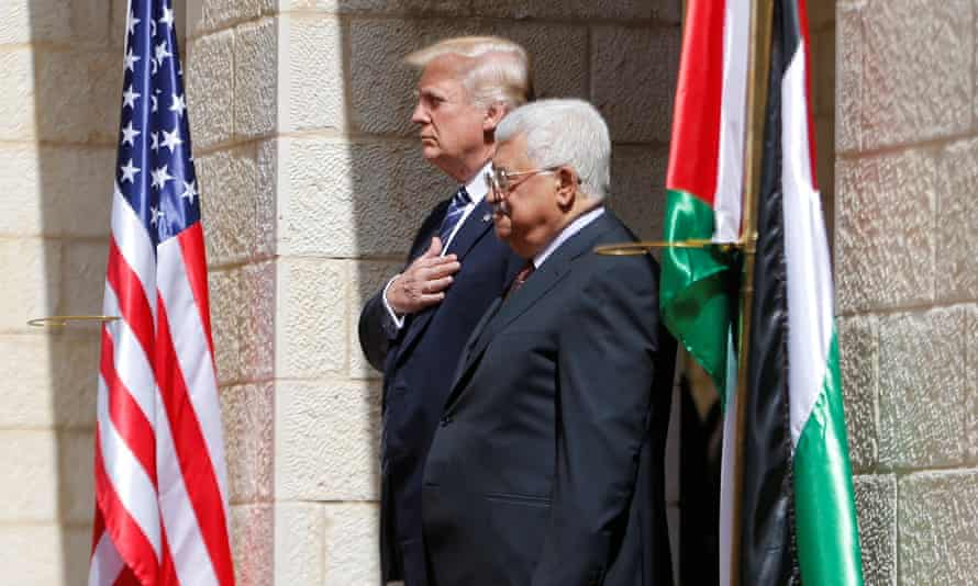 Trump with Mahmoud Abbas in May last year. Following the US embassy opening in Jerusalem and the shooting by Israeli soldiers of hundreds of Palestinians, Abbas recalled his envoy to the US.