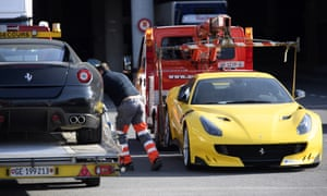 French police needed trucks to tow away 11 luxury cars worth around €5m.
