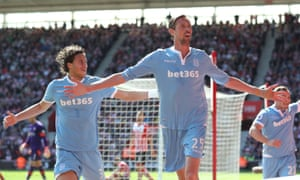 Peter Crouch celebrates after heading in the only goal of the game in Stoke City's victory against Southampton at St Mary's.