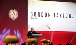 The outgoing chief executive of the PFA, Gordon Taylor, who will leave after the ongoing independent review of the union is at an end.