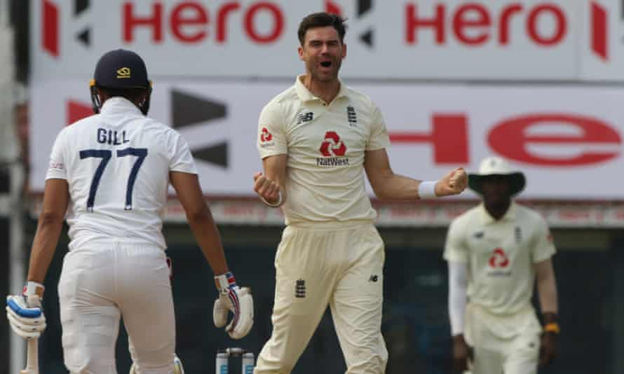 Jimmy Anderson celebrates the wicket of Shubman Gill during his stunning spell on the final day of the first Test in Chennai.
