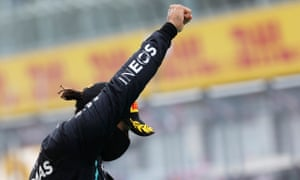 Lewis Hamilton celebrates after winning Styria Grand Prix
