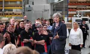 Theresa May is speaking to workers during an election campaign tour stop at Ultima Furniture Systems Ltd. in Pontefract.