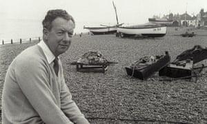 Benjamin Britten on Aldeburgh beach in Suffolk.