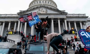 Supporters of Donald Trump outside the US Capitol building.