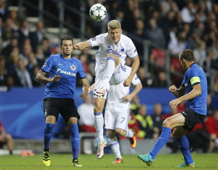 FC Copenhagen's Andreas Cornelius jumps for the ball during the recent Champions League match against Club Brugge.