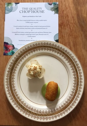 Blue-cheese custard, candied walnut, truffled potato croquette. The Quality Chop House at Wilderness Festival. Even in a field, I retain my standards.